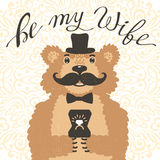 Be my wife. Hipster bear with an offer of marriage. Vintage card in cartoon style. Royalty Free Stock Photo