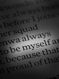 Always be myself. Written in newspaper Royalty Free Stock Images