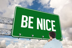 Be nice against blue sky with white clouds Stock Photo