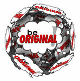 Be Original Thought Clouds Creative Inventive Imaginative Thinki. Be Original words in thought clouds arranged in a sphere to encourage you to think creatively Stock Photography