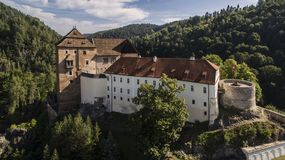 Bečov - aerial drone view of medieval castle. Bečov nad Teplou. Aerial drone skyline view of medieval castle. Located in Czech republic. It is very popular Stock Photo