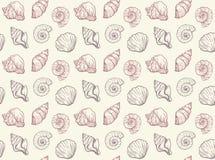 Beżowy elegancki wzór handdrawn seashells ilustracji