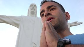 Be på Jesus Statue stock video