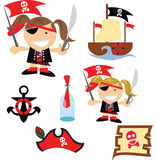 We be pirates at the sea. Arghh! We Be Pirates! two girls of different hair color and matching pirate items including a pirate map , ship anchor , pirate hat and Stock Photography