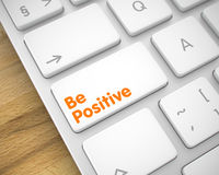 Be Positive - Message on White Keyboard Key. 3D. Royalty Free Stock Photography