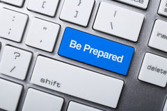 Be Prepared Button On Keyboard Royalty Free Stock Photography