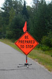 Be prepared to stop sign. Road sign warning of road construction ahead royalty free stock images