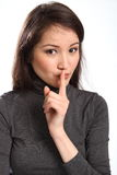 Be quiet keep a secret sign by pretty young woman Stock Image