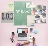Be Raw Creative Design Ideas Concept Stock Image