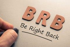 Be Right Back Abbreviation Stock Photography