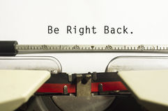 Be right back Royalty Free Stock Photo
