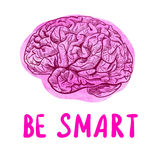 BE SMART motivational illustration with sketched brain Stock Photography