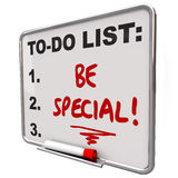 Be Special To Do List Dry Erase Board Unique Different Distincti. Be Special words written on a to do list on a dry erase board to illustrate the importance of Royalty Free Illustration