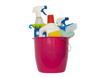 Be spring-cleaning. A bucket filled with cleaning products Royalty Free Stock Photography