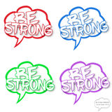 Be strong motivational comics bubble stamps Royalty Free Stock Photos