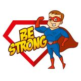 Superhero cartoon character. Be strong superhero cartoon character vector illustration Stock Images