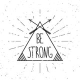 Be strong - vector poster with sun rays. Motivational phrase. Stock Photography