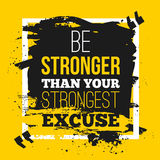 Be stronger than your excuses. Quote poster with paper background and black marker stain. A4 mock up easy to edit Royalty Free Stock Photo