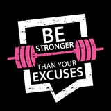 Be stronger than your excuses typography / Sports motivation. Be stronger than your excuses motivational text with barbells sport motivation concept t-shirt Stock Photography
