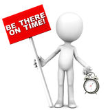 Be there. On time words on a banner in one hand and timepiece in another hand of a little man Stock Photography