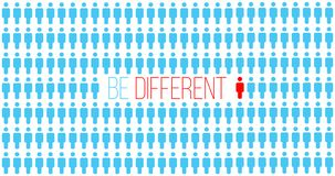Be or think different. Being different in the crowd, move for success. individuality successful concept. unique person. business stock illustration