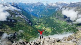 Awesome mountain views and passion for the peak. Be tourist in norway mountains royalty free stock photos