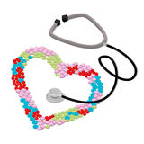 Be treated health care heart stethoscope flat isometric vector Royalty Free Stock Photo