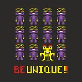 Be unique banner with pixel monsters. Royalty Free Stock Images