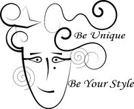Fashion logo - Be Unique - line drawing. Be Unique! Be Your Style! Be Your Self Royalty Free Stock Images