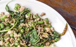 Be*wegen-gebraden varkensvlees en basilicum, voedsel van Thailand Stock Fotografie