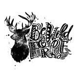 Be wild and free concept hand lettering motivation poster. Royalty Free Stock Photos