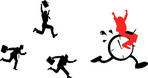 Be the winner!. Businessmen running after a clock with a  cheerful businessman sitting on it Stock Images