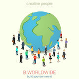Be worldwide flat 3d web isometric infographic concept. Be worldwide cosmopolitan globalization flat 3d web isometric infographic concept vector. Micro people Royalty Free Stock Image