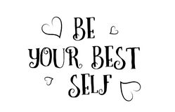 Be your best self love quote logo greeting card poster design Stock Photography