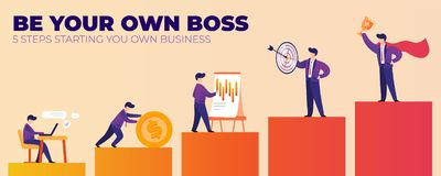 Be Your Own Boss 5 Steps Starting you Own Business stock illustration