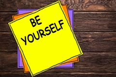`BE YOURSELF`. Business photo showcasing challenge ideas goals for new year motivation to start ideas concepts on yellow papper. stock illustration