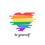 Be yourself with colored heart. Concept of non-traditional, happy valentine day, lifestyle, gender, matrimony. isolated on white background. flat style trend Royalty Free Stock Photo