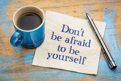 Be yourself concept on napkin Royalty Free Stock Photography