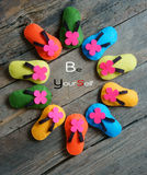 Be yourself, confident, handmade sandals Stock Photo