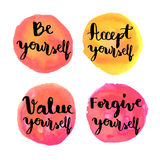 Be yourself hand lettering motivational messages Royalty Free Stock Image