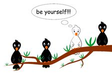 Be yourself. The illustration dedicated to the  white crow Royalty Free Stock Photography