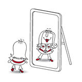 Be yourself Karen. Penelope looks in the mirror. It is a metaphor of  keeping yourself in the life Royalty Free Stock Photos