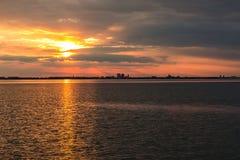 Beabutiful sunset ower sea Royalty Free Stock Photos