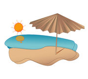 Beach. Umbrella on the Beach illuatration (day Stock Photos