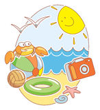 Beach. Vector illustration with crab, balls, camera and others on the sunny beach Stock Image