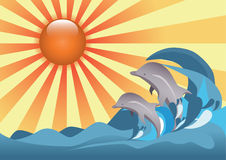 Beach. Dolphins diving at a beach royalty free illustration