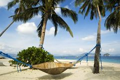 Beach. Rattan Hammock in El Nido, Philippines Stock Photo