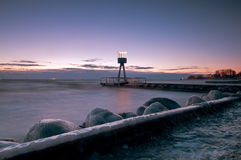 Beach. Covered whit ice a winter morning Stock Image
