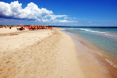 The beach. A miles long beach in southern italy on late June Royalty Free Stock Image