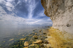 Beach. A coastal stretch in Denmark consisting of lime Royalty Free Stock Photography